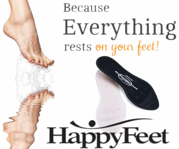 Happy Feet Insole golfer runner skier military, back pain, hip knee pain, bone spur, osteophyte, poor circulation, diabetic, Plantar Fasciitis