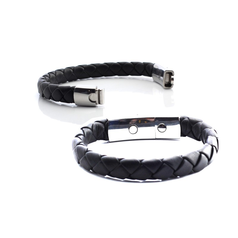 Lunavit magnetic cowhide leather bracelet bio-energetic accessory features the advantage of a powerful magnet and a germanium stone