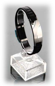 Pulseras iones negativos black or white/stainless steel