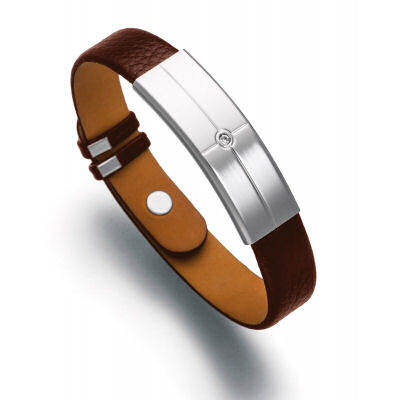 Lunavit magnetic cowhide leather bracelet bio-energetic accessory features the advantage of a powerful magnet negative ions and a germanium stone
