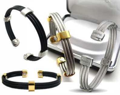 Bracciale SABONA Trio Cable Stainless/Gold Magnetic Armband